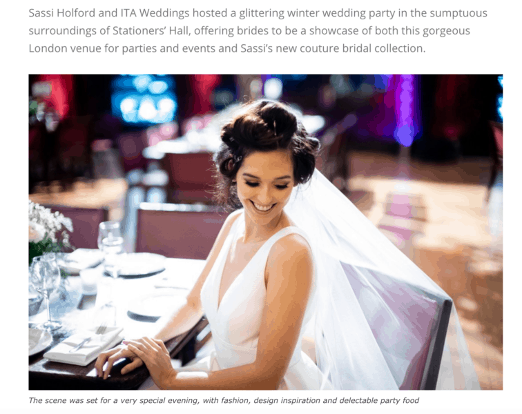 Screen grab from wedding article of new dresses show