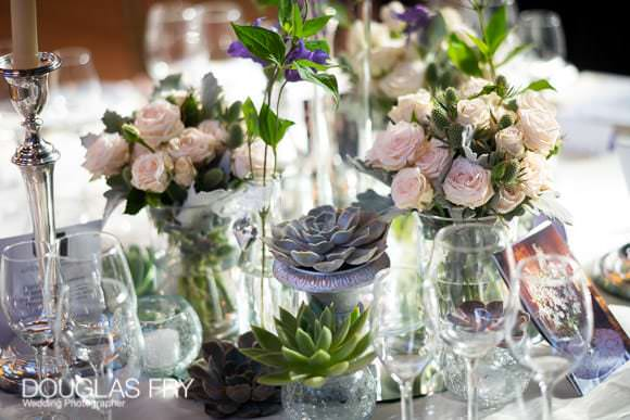 Flowers and table arrangement for wedding reception