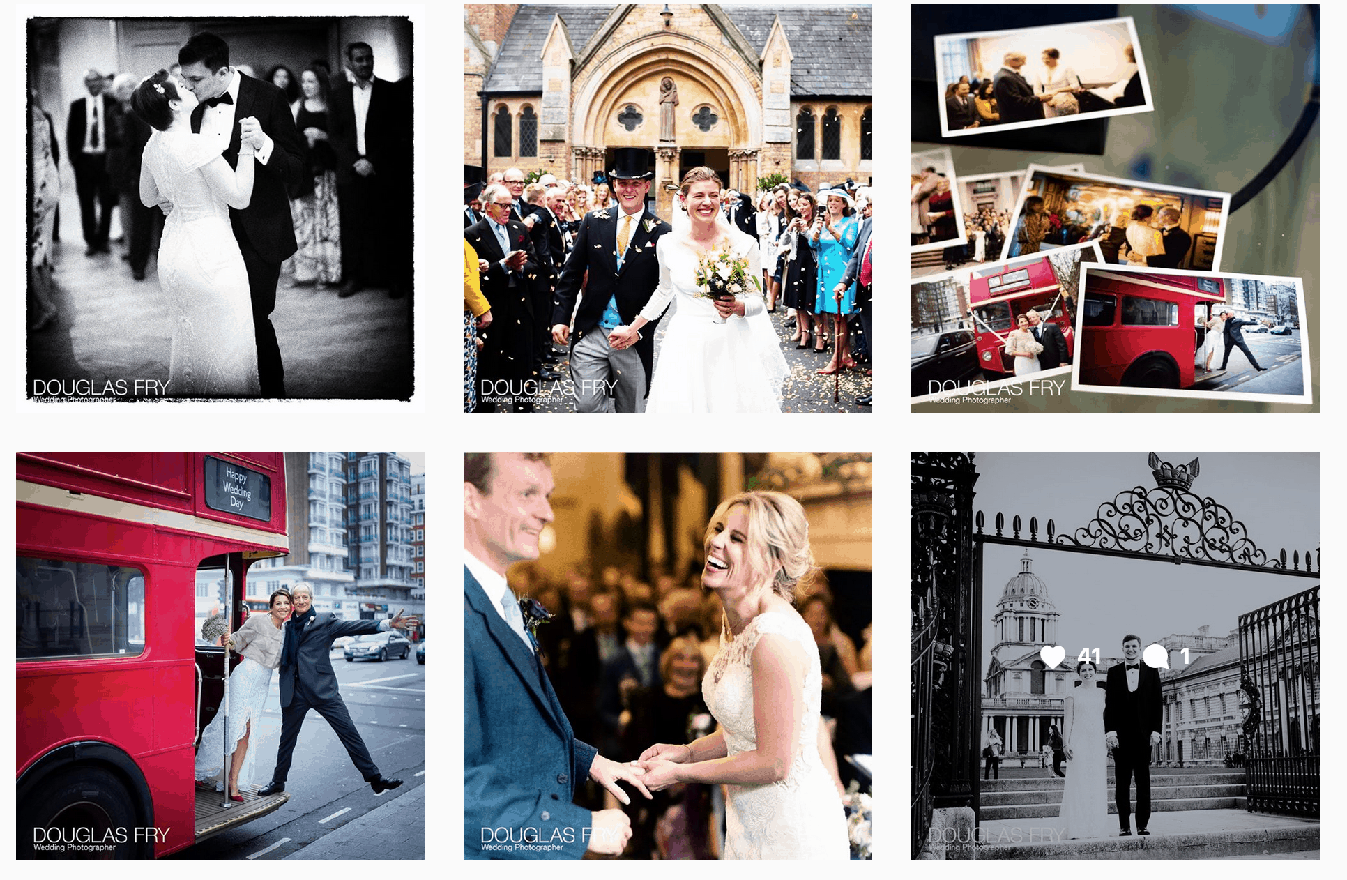 Instagram page of wedding photographs