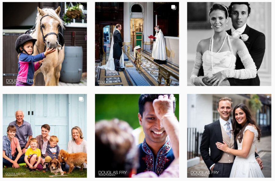 Screen shot of Instagram page - showing Douglas Fry Wedding photography