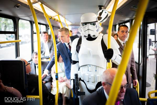 Stormtrooper on wedding bus