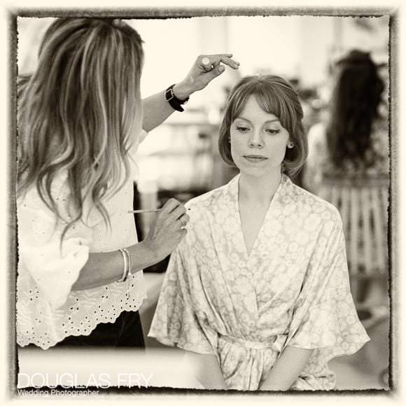 Bride getting ready at home on Cheyne Walk in London