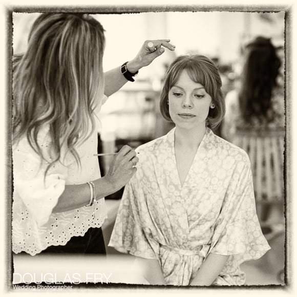 Bride getting ready at home on Cheyne Walk in London