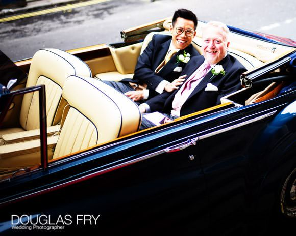 St George's Hanover Square London wedding - couple arriving in car