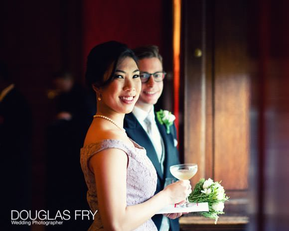 Guests photographed at wedding reception