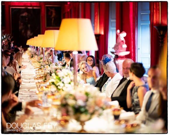 Guests enjoying wedding breakfast at reception