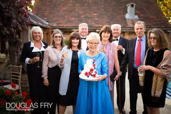 80th Birthday cake and guests