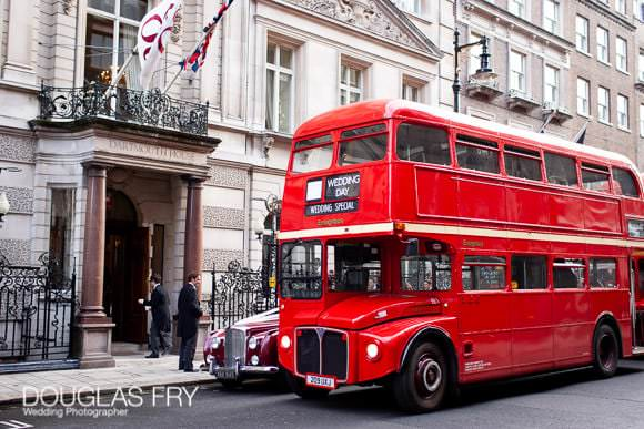 Wedding bus arriving at Dartmouth House with guests