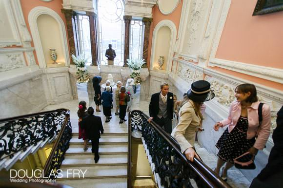 Going up stairs for dinner at Dartmouth House