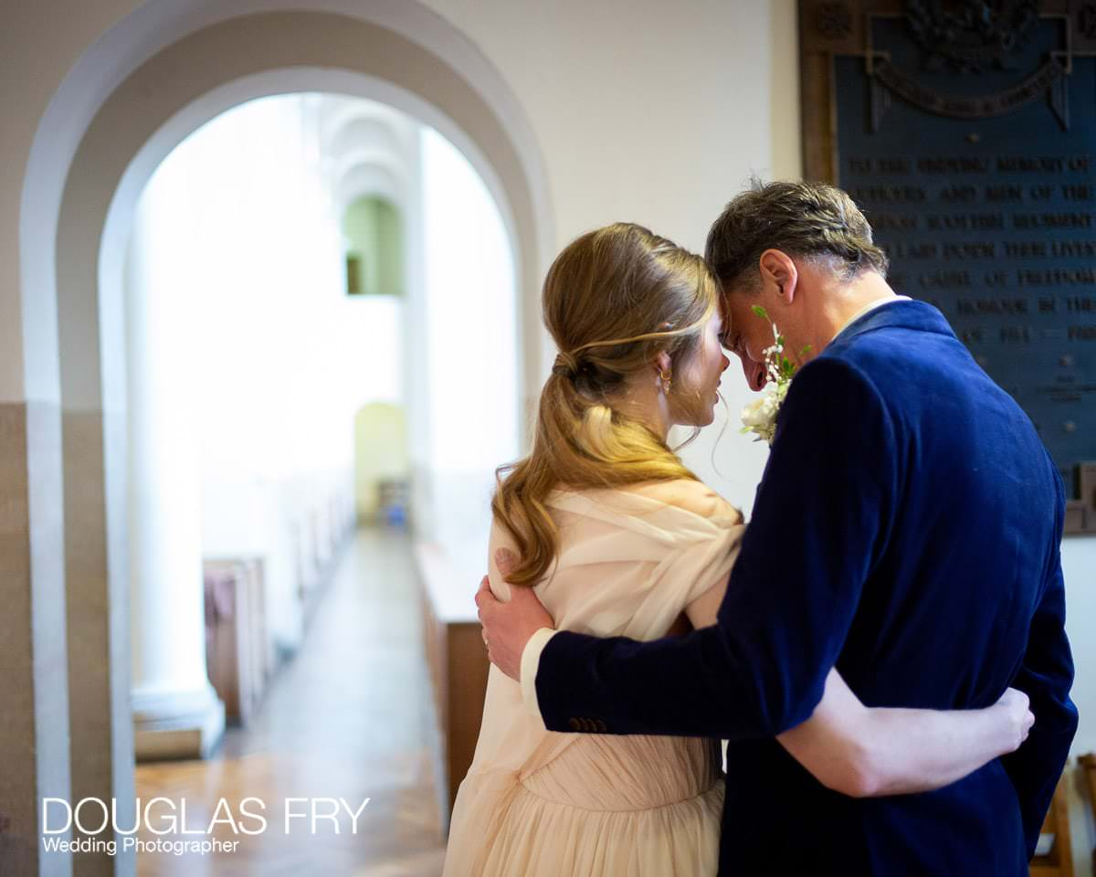 Wedding Photograph taken of couple at St Columbas Church in London
