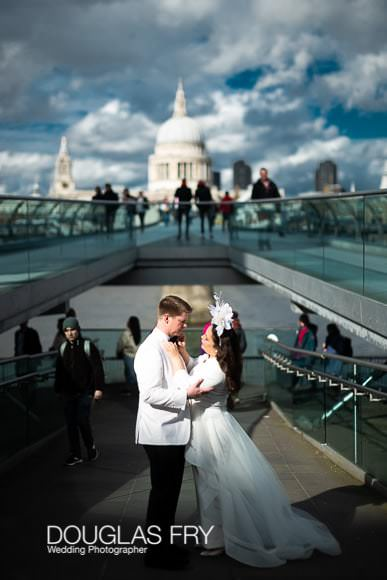 London photography for wedding couple on the Millennium Bridge