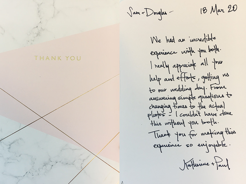 Thank you card sent by US bride after wedding photography