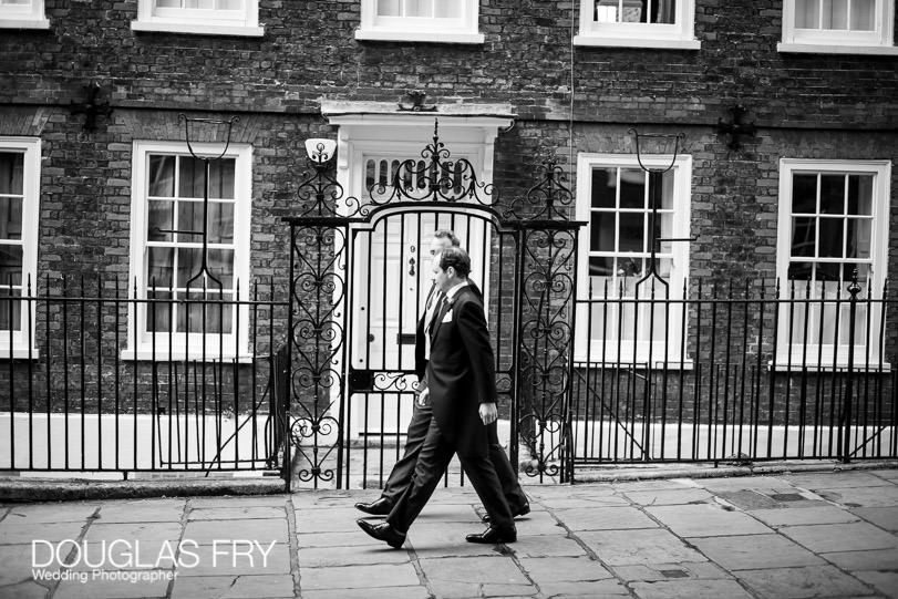 Arriving at wedding in London