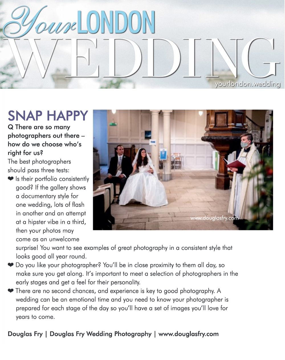 Article in Your London Wedding Magazine by Douglas Fry about selecting a wedding photographer