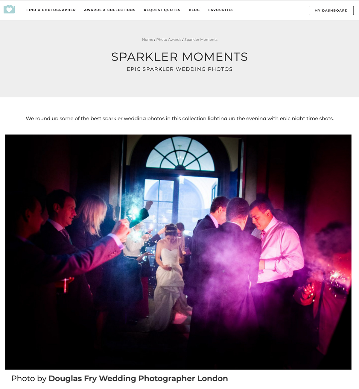HAC sparklers photograph on You and Your Wedding website
