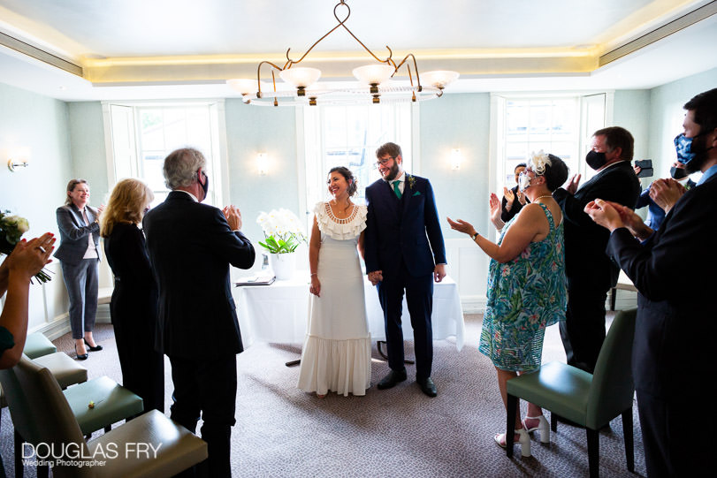 Micro wedding - ceremony in London with guests wearing face masks