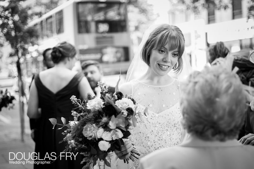 Leica cameras - black and white photograph of the bride in Kings Road - Chelsea