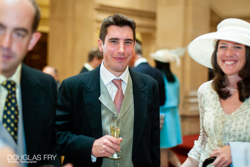 Wedding Photographer One Great George Street London - guest at drinks reception