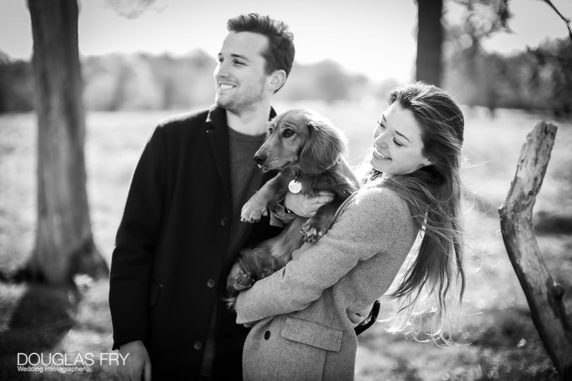 Engagement Photoshoot in London - Richmond Park with dog