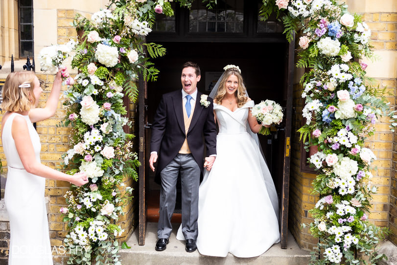 Bride and groom at Church door in Chelsea