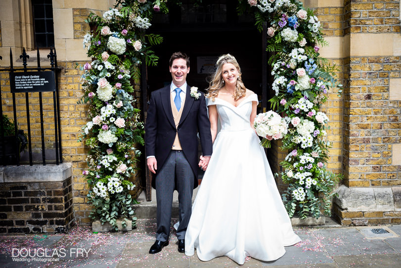 Bride and groom photographed in London