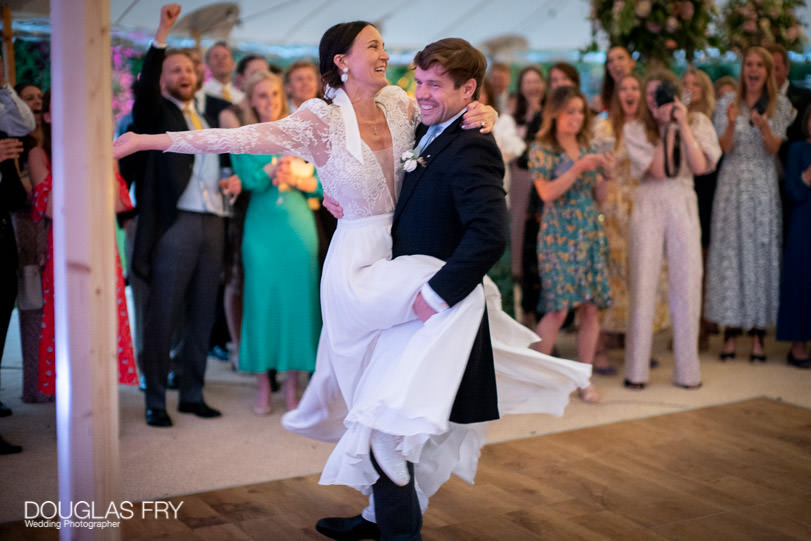 couple on dance floor in marquee