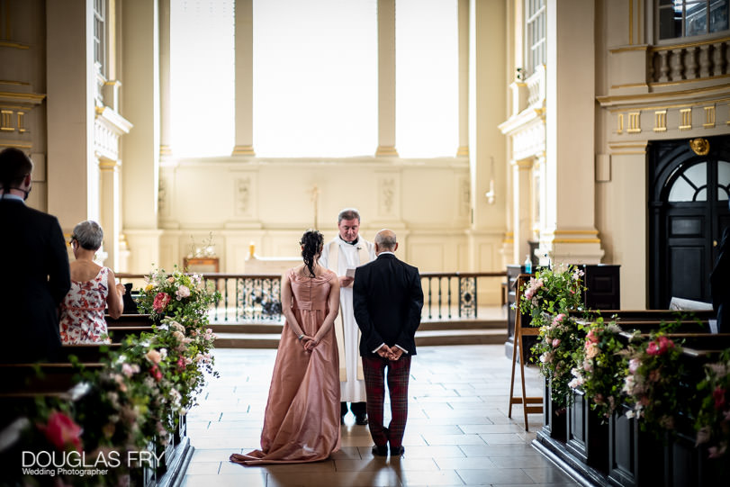wedding ceremony photographed by Douglas Fry at St Martins in the Fields