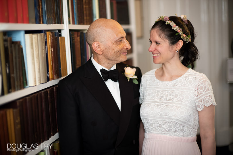 Couple photographed together at the Athenaeum Club in London on wedding day.
